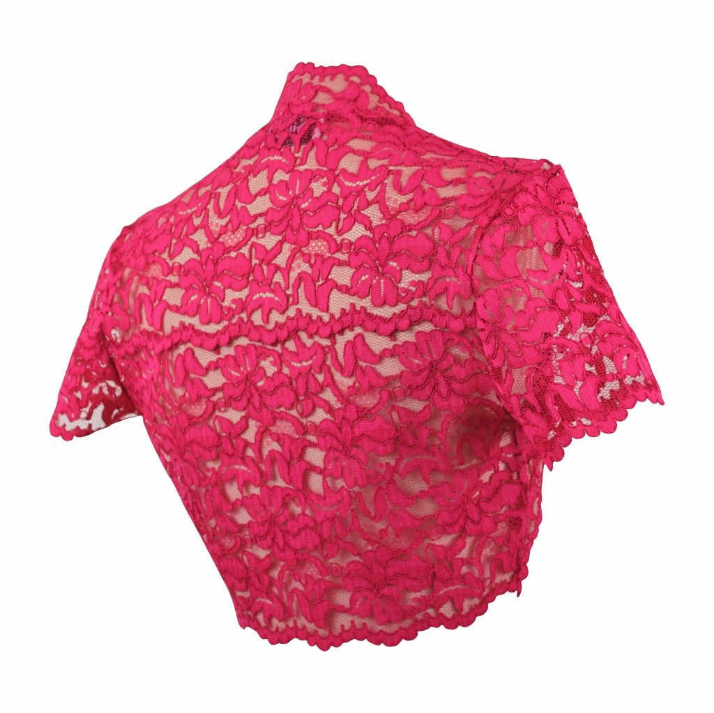 Guipure Lace Shrug - Ruby
