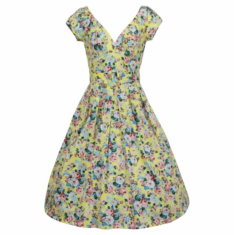 Paris Dress with Cap Sleeves - Yellow Posy