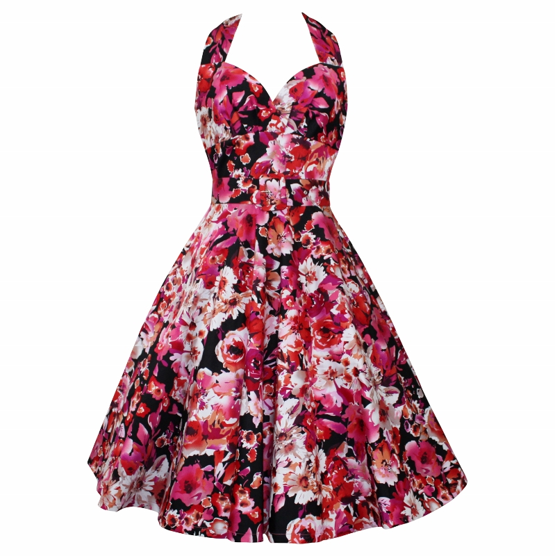 Marilyn Dress - Red Floral
