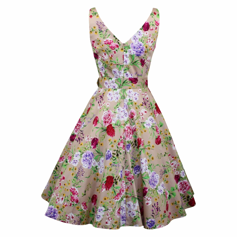 Paris Swing Dress - Floral on Biscuit