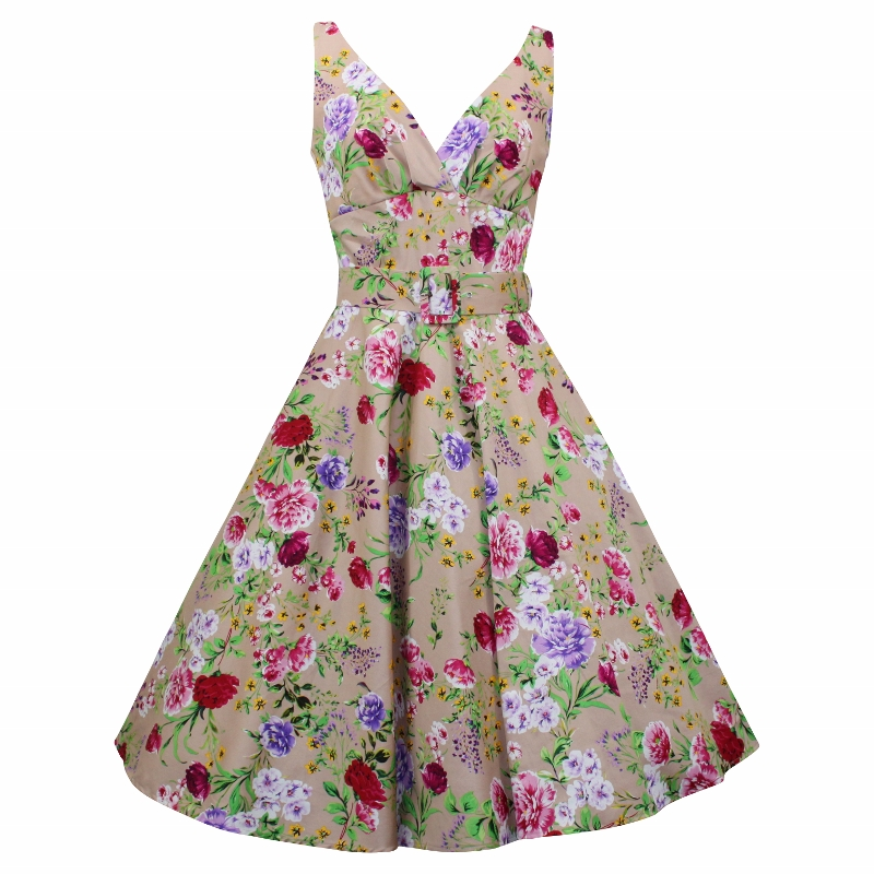 Paris Swing Dress - Floral on Biscuit