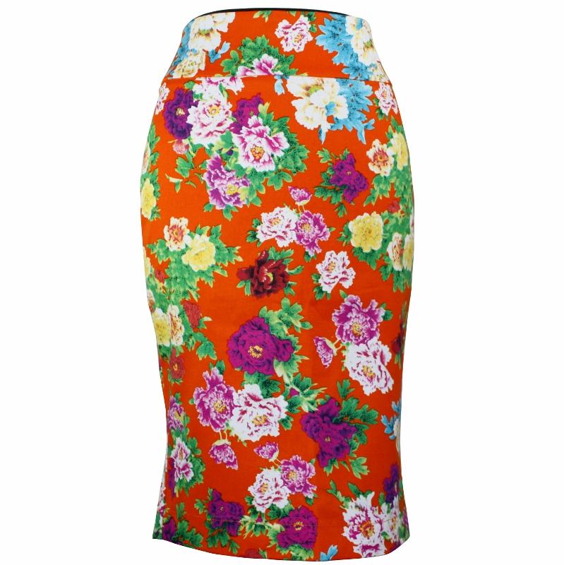 Tiffany Pencil Skirt - Tangerine