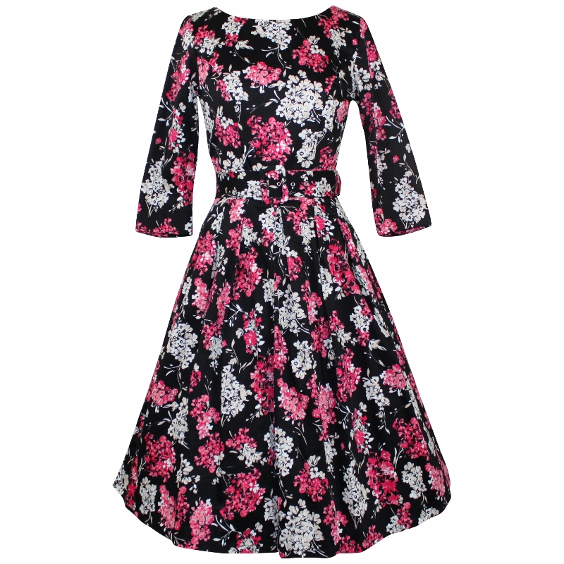 Grace Dress with 3/4 Sleeves - Pink & White on Black
