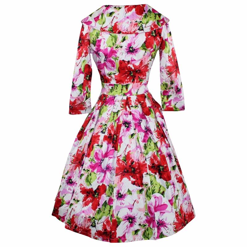Portrait Dress with 3/4 Sleeves - Floral Splash