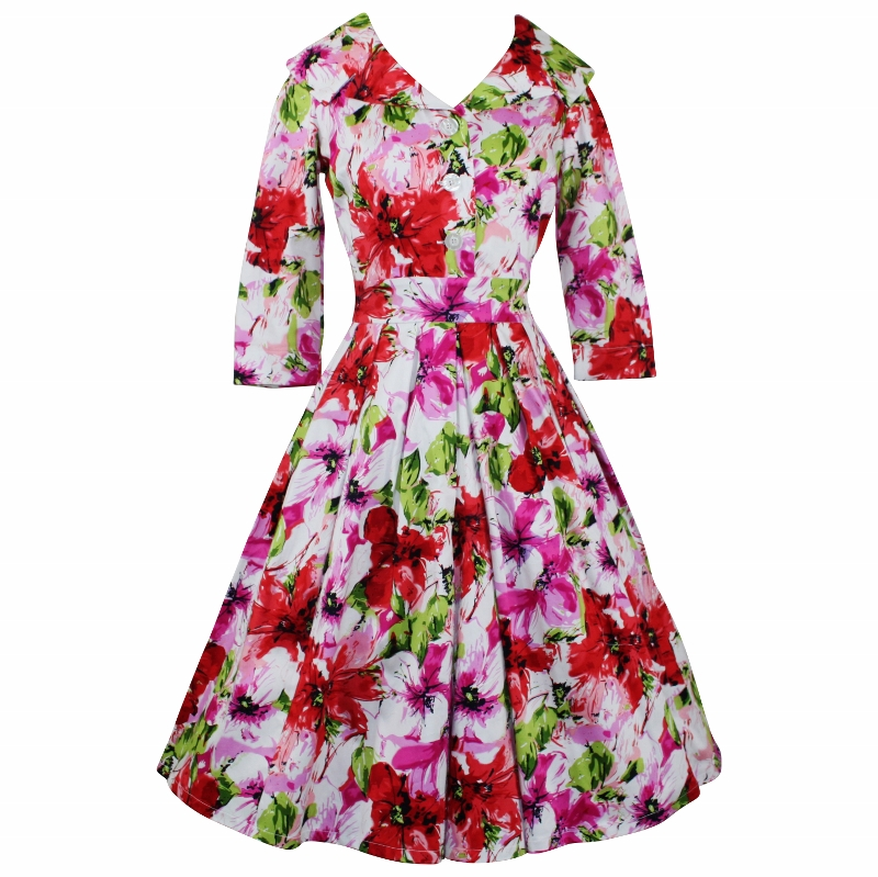 Portrait Dress with 3/4 Sleeves - Floral Splash