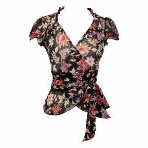 Dita Wrap Blouse - Brown Silk