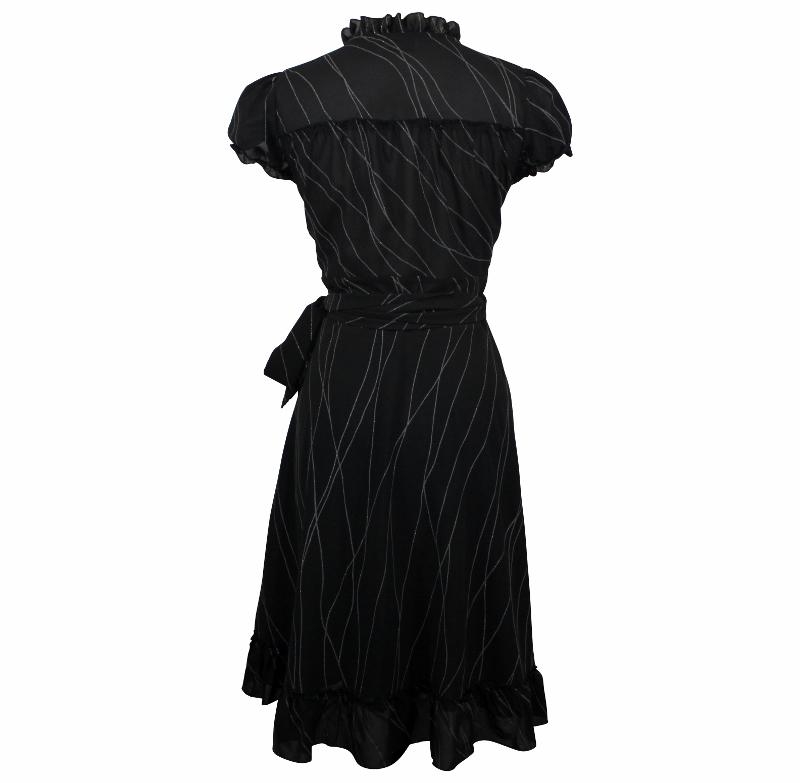 Dita Wrap Dress - Black & Silver