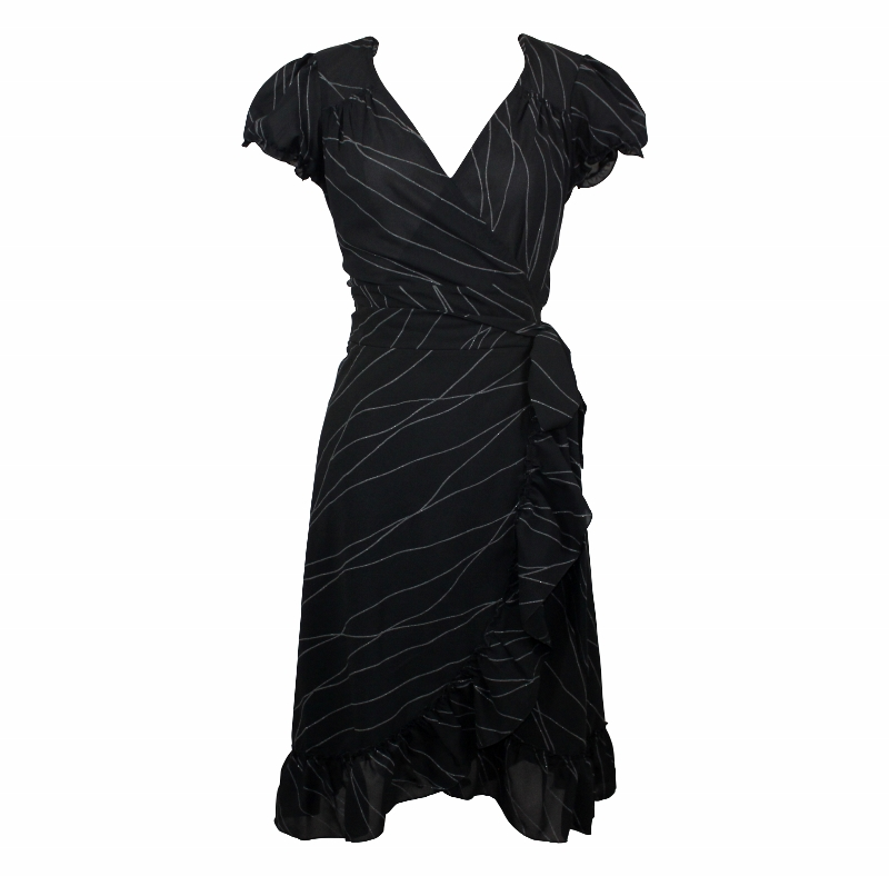 Dita Wrap Dress - Black & Silver