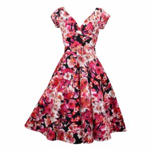 Paris Swing Dress with Cap Sleeves - Red Floral