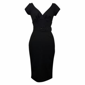 Paris Wiggle Dress with Cap Sleeves - Midnight Black
