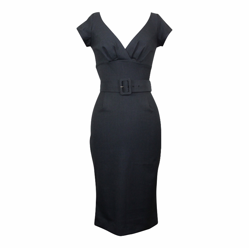 Paris Wiggle Dress with Cap Sleeves - Charcoal
