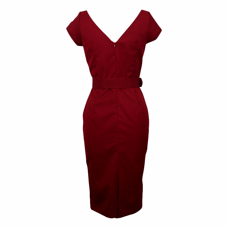 Paris Wiggle Dress with Cap Sleeves - Garnet Red