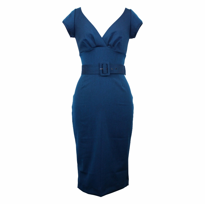 Paris Wiggle Dress with Cap Sleeves - Kingfisher Blue