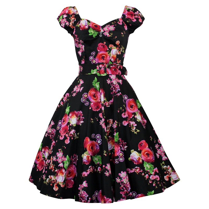 Carmen Swing Dress - Blossom on Black