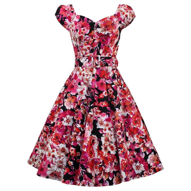 Carmen Swing Dress - Red Floral