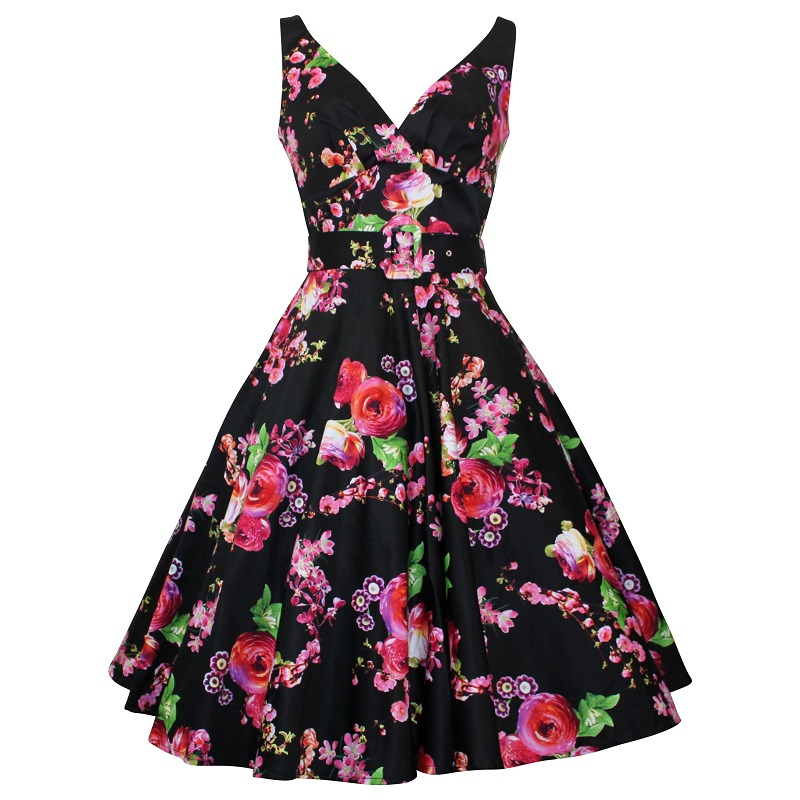 Paris Swing Dress - Blossom on Black