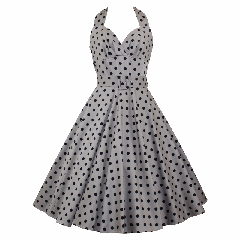 Marilyn Dress - Taupe Polka Dot