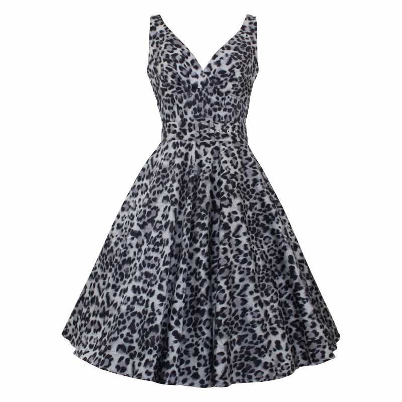 Paris Swing Dress - Grey Leopard