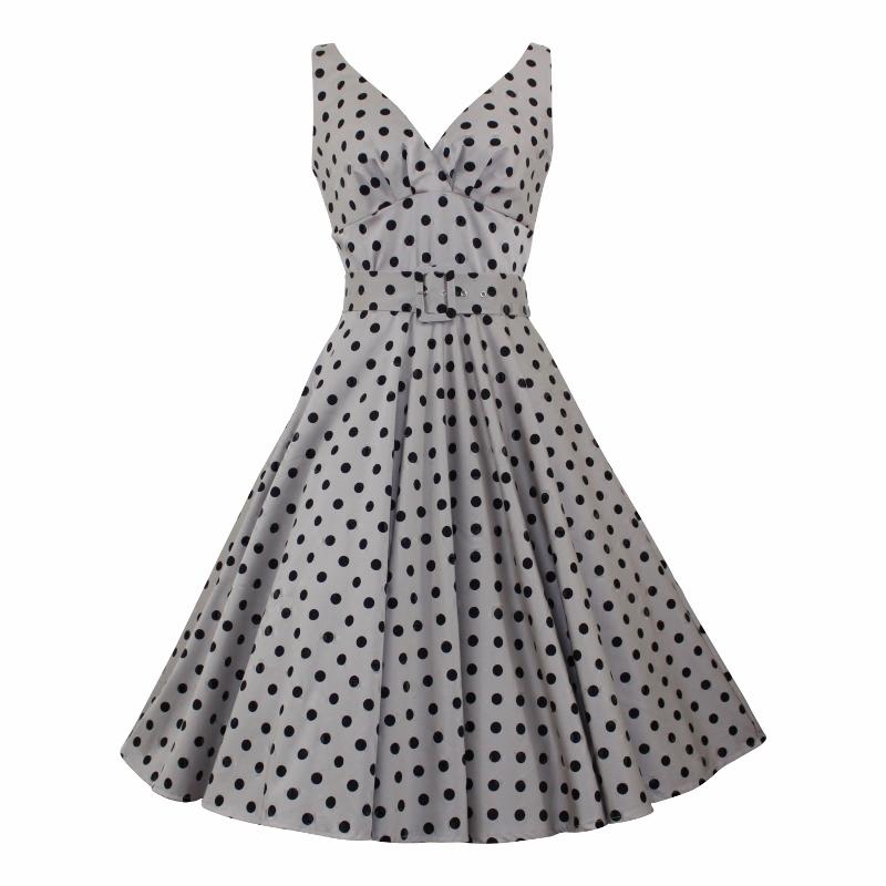 Paris Swing Dress - Taupe Polka Dot