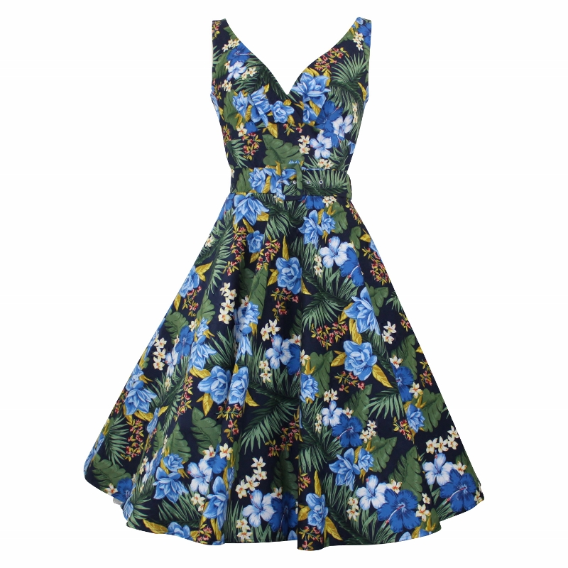 Paris Swing Dress - Tropical Navy