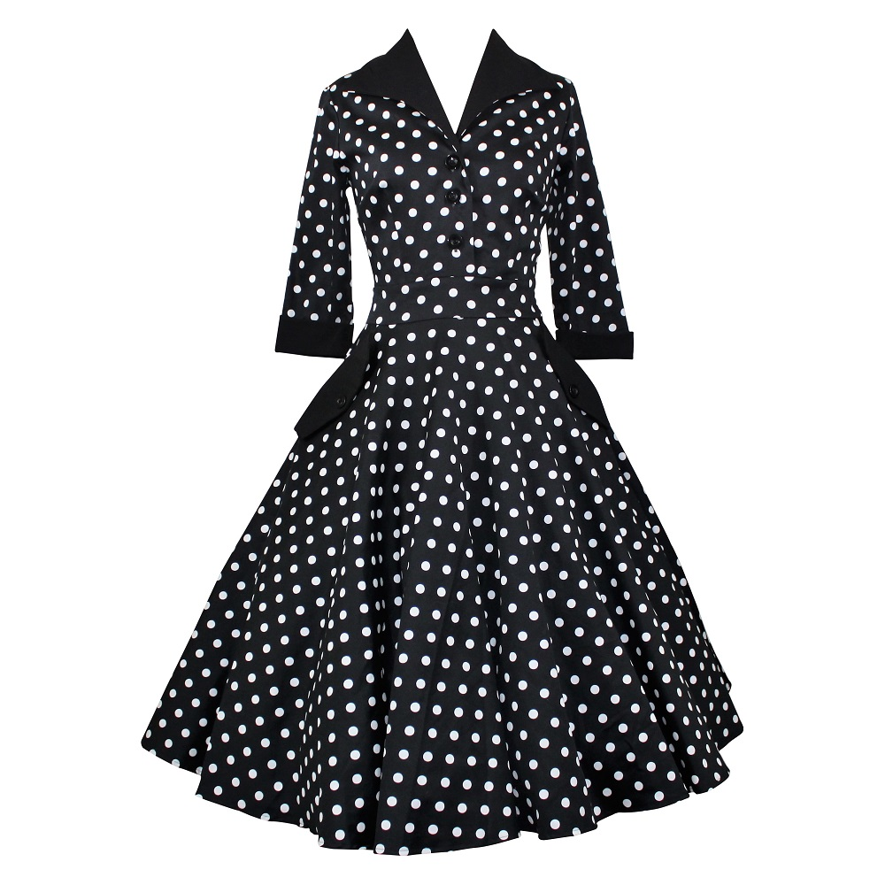 Bacall Shirtdress - Black Polka Dot
