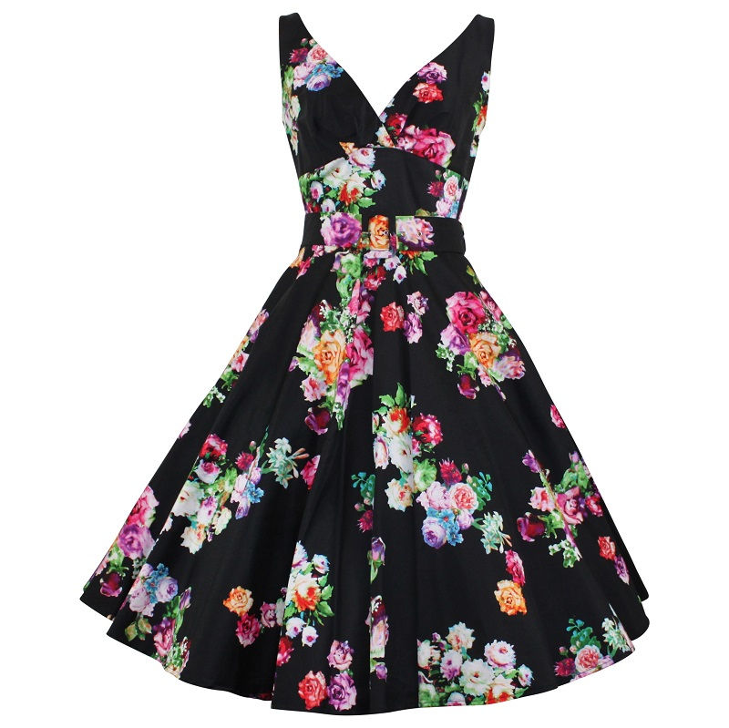 Paris Swing Dress - Posy on Black
