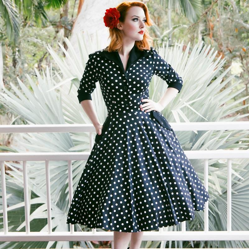 Bacall Shirtdress - Black Polka Dot