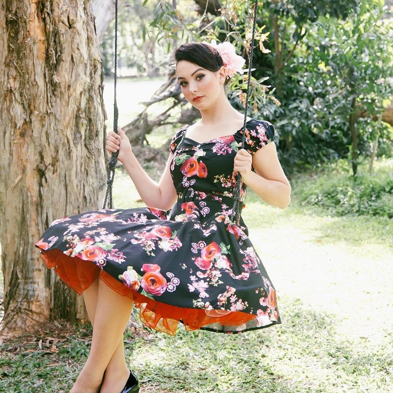 Carmen Swing Dress - Blossom on Black