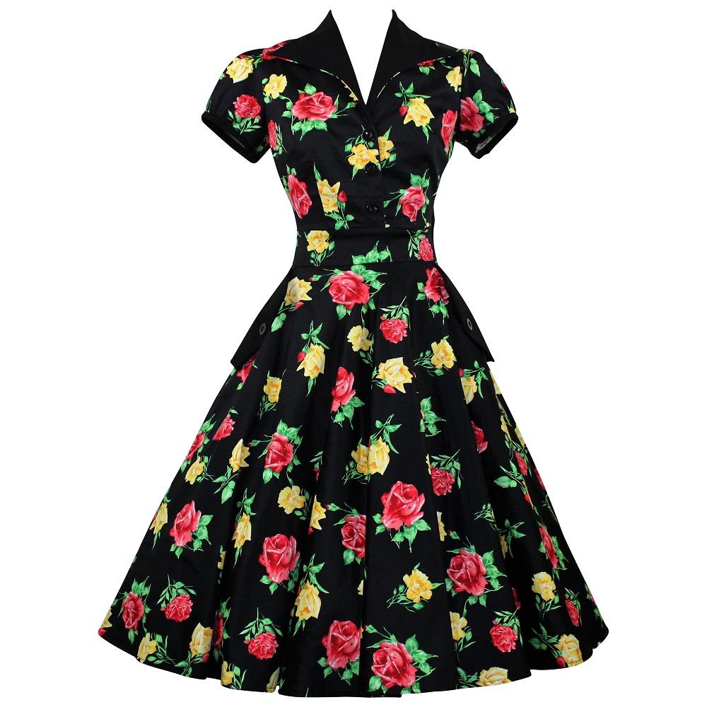 Ava Shirtdress - Yellow & Red Rose