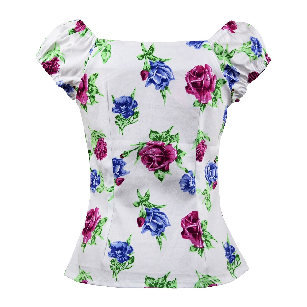Carmen Top - Pink & Blue Rose