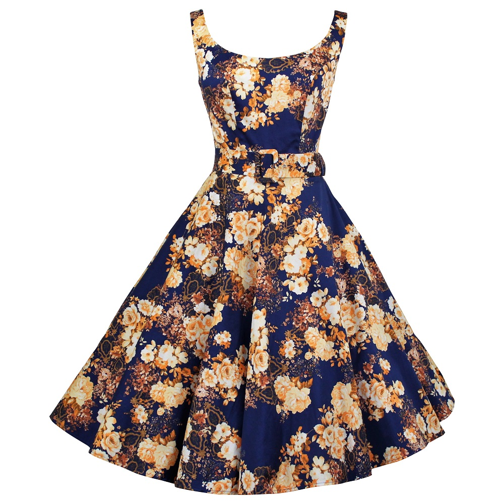 Gina Swing Dress - Golden Roses