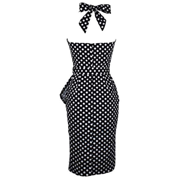Vintage style polka dot halterneck wiggle dress back view