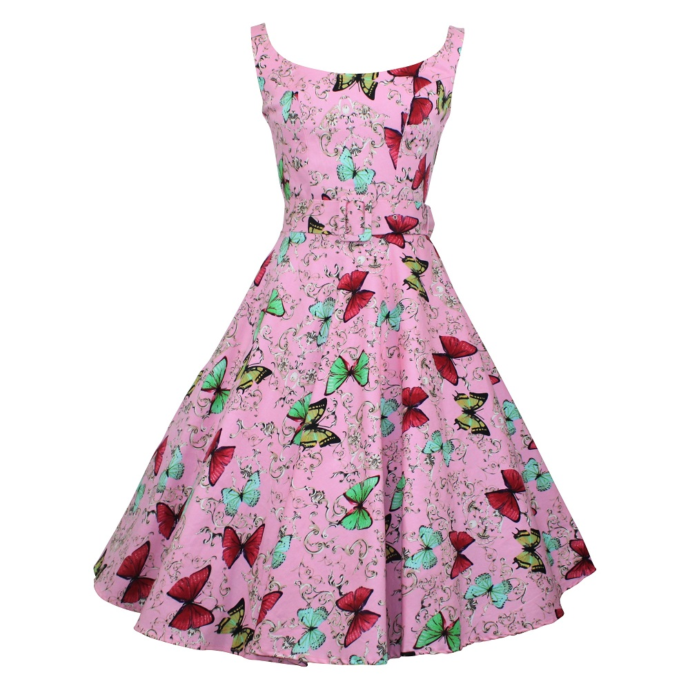 Gina Swing Dress - Pink Butterflies