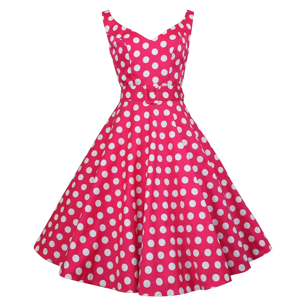 Misty Swing Dress - Pink Coin Spot