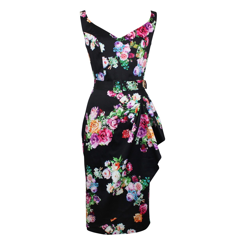 Misty Sarong Dress - Posy on Black