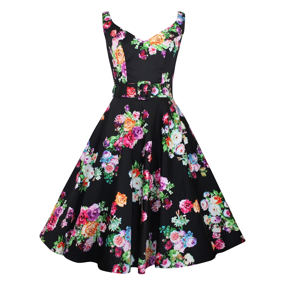 Misty Swing Dress - Posy on Black