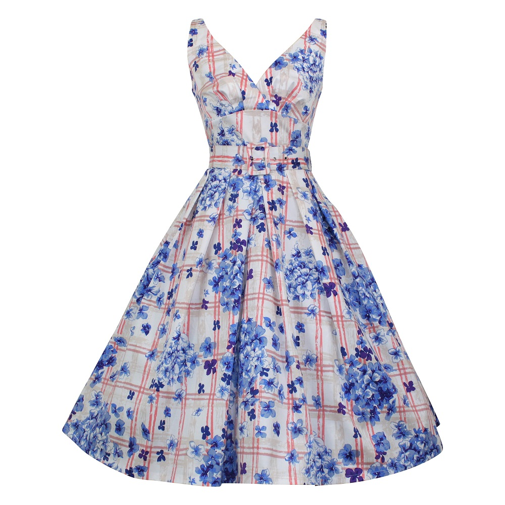 Paris Dress - Blue Trellis