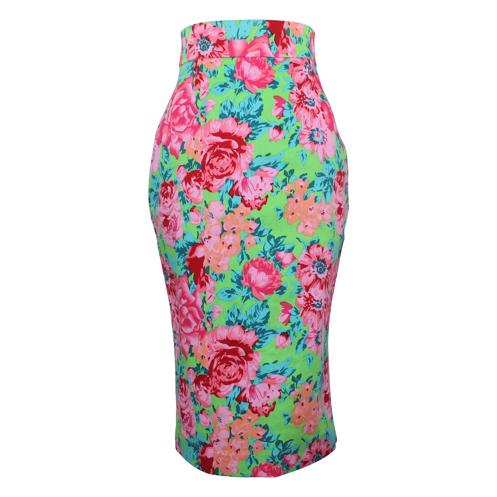 Rosa Pencil Skirt - Lime Green