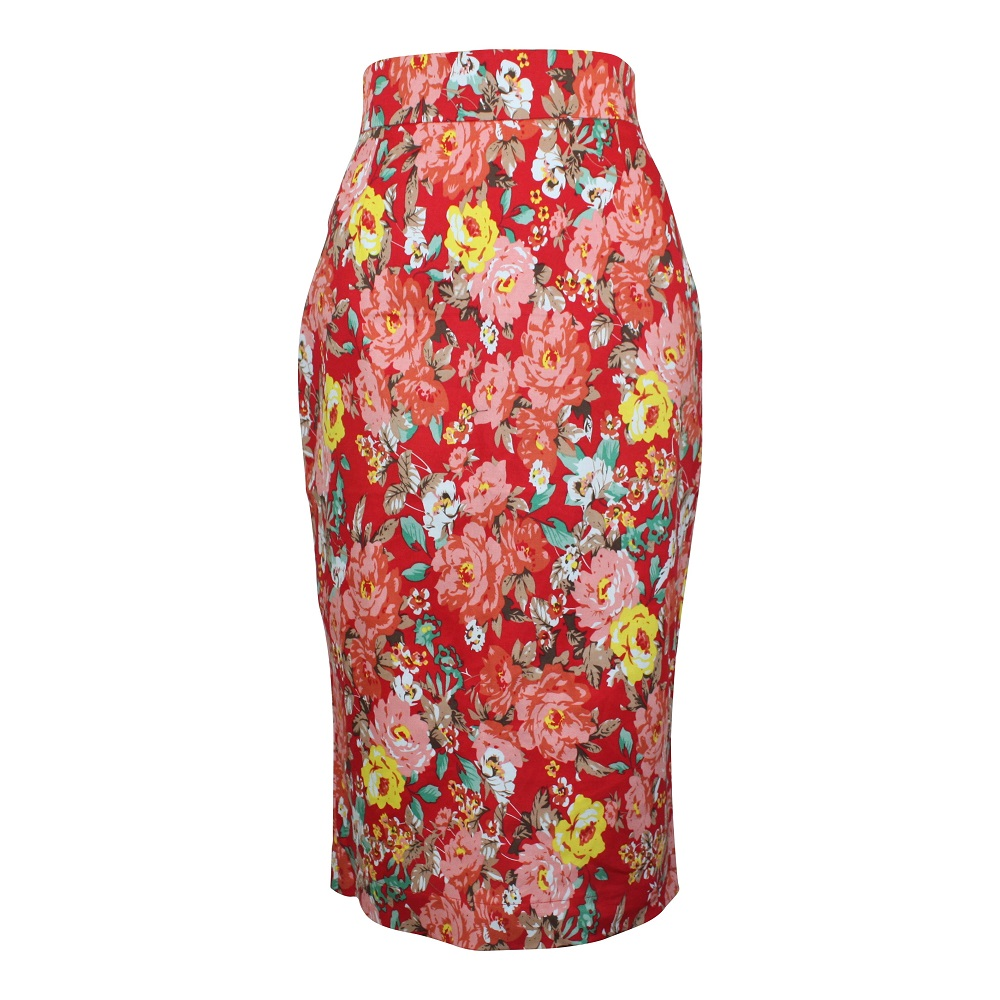Rosa Pencil Skirt - Red