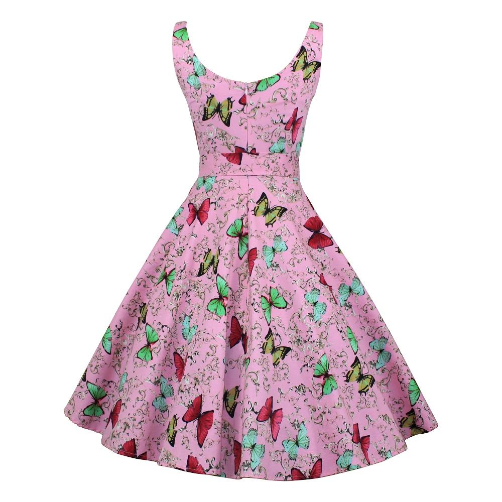 Gina Swing Dress - Pink Butterflies
