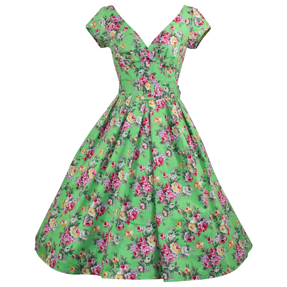 Paris Dress with Cap Sleeves - Lime Green Floral