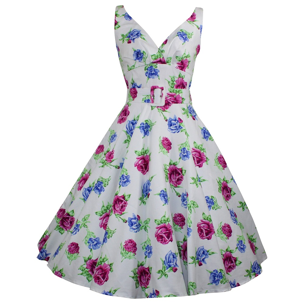 Paris Swing Dress - Pink & Blue Rose