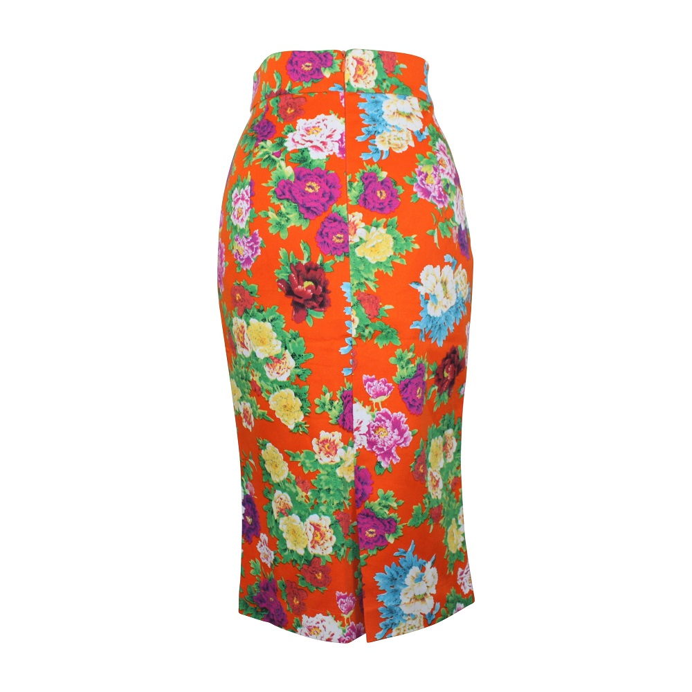 Rosa Pencil Skirt - Tangerine