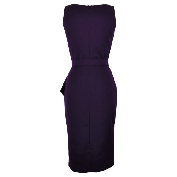 Vintage style aubergine elegant boatneck wiggle dress back view