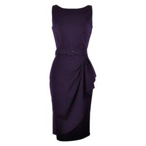 Vintage style aubergine elegant boatneck wiggle dress