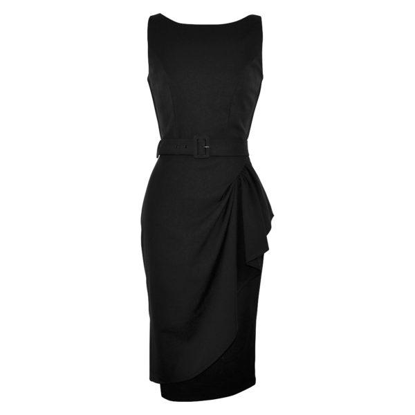 Vintage style black elegant boatneck wiggle dress