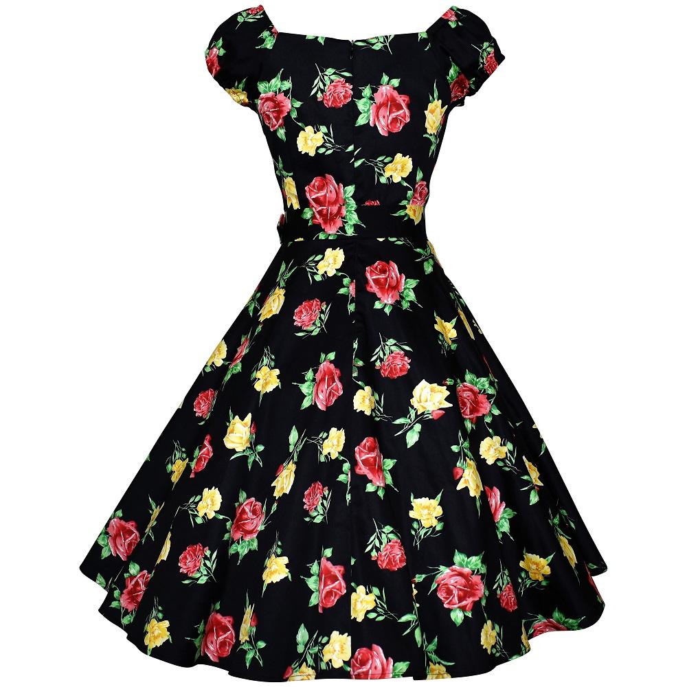 Carmen Swing Dress - Yellow & Red Rose