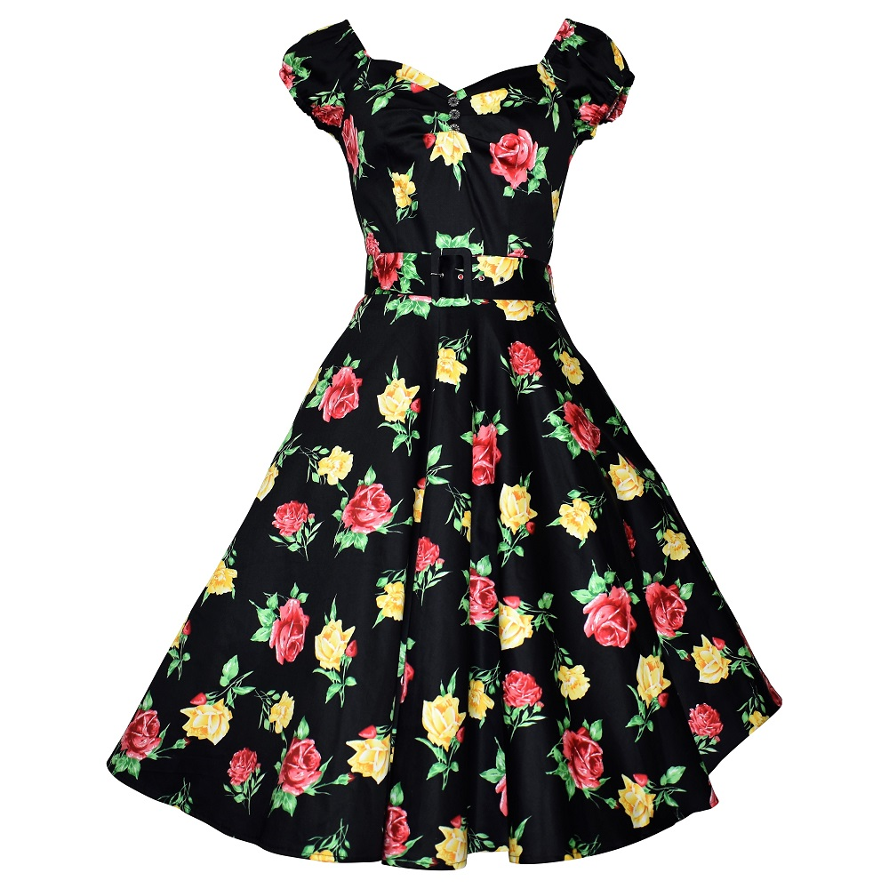 Carmen Swing Dress - Yellow & Red Rose