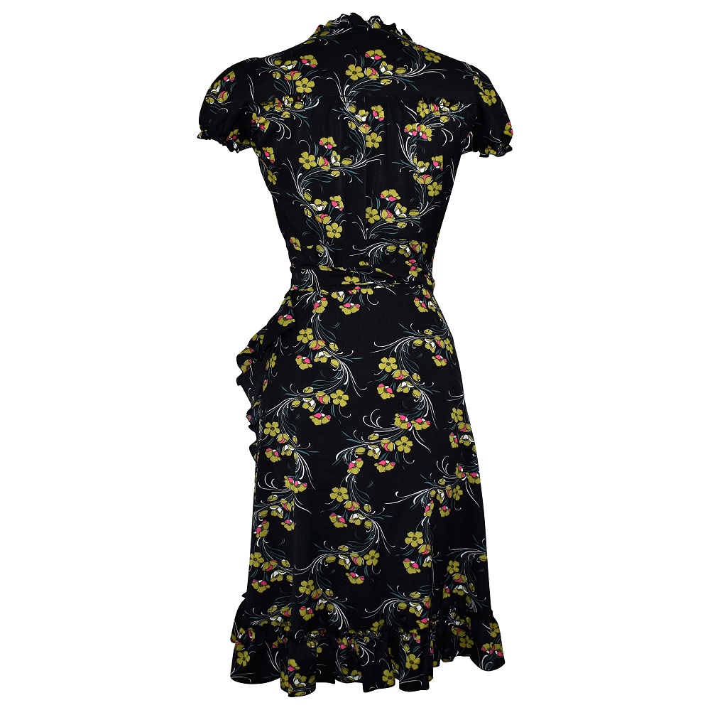 Forties style black floral print wrap dress back view