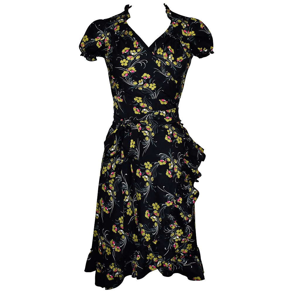 Forties style black floral print wrap dress